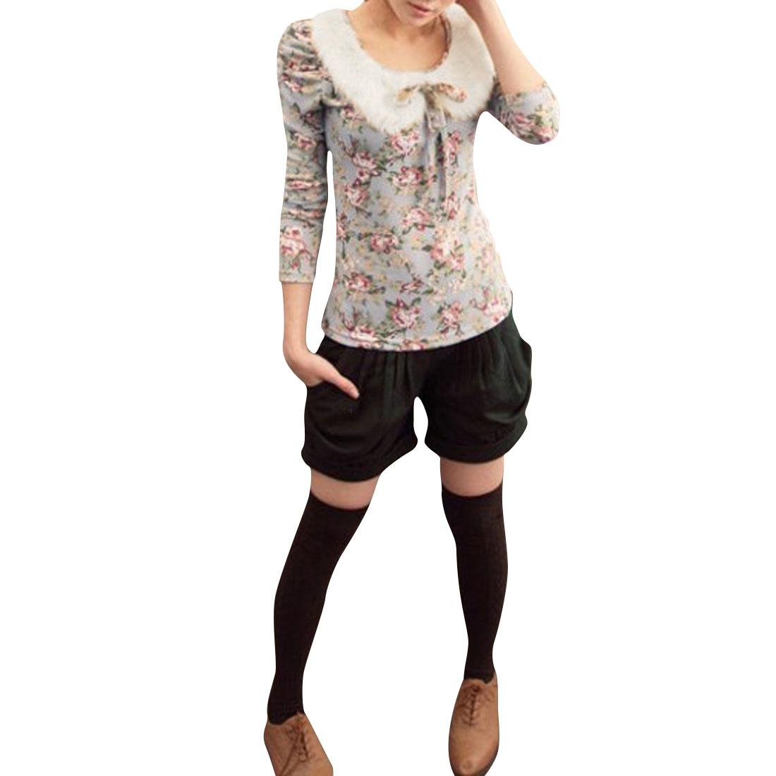 Ladies Light Blue Peter Pan Collar Bubble Sleeve Floral Prints Top Shirt XS