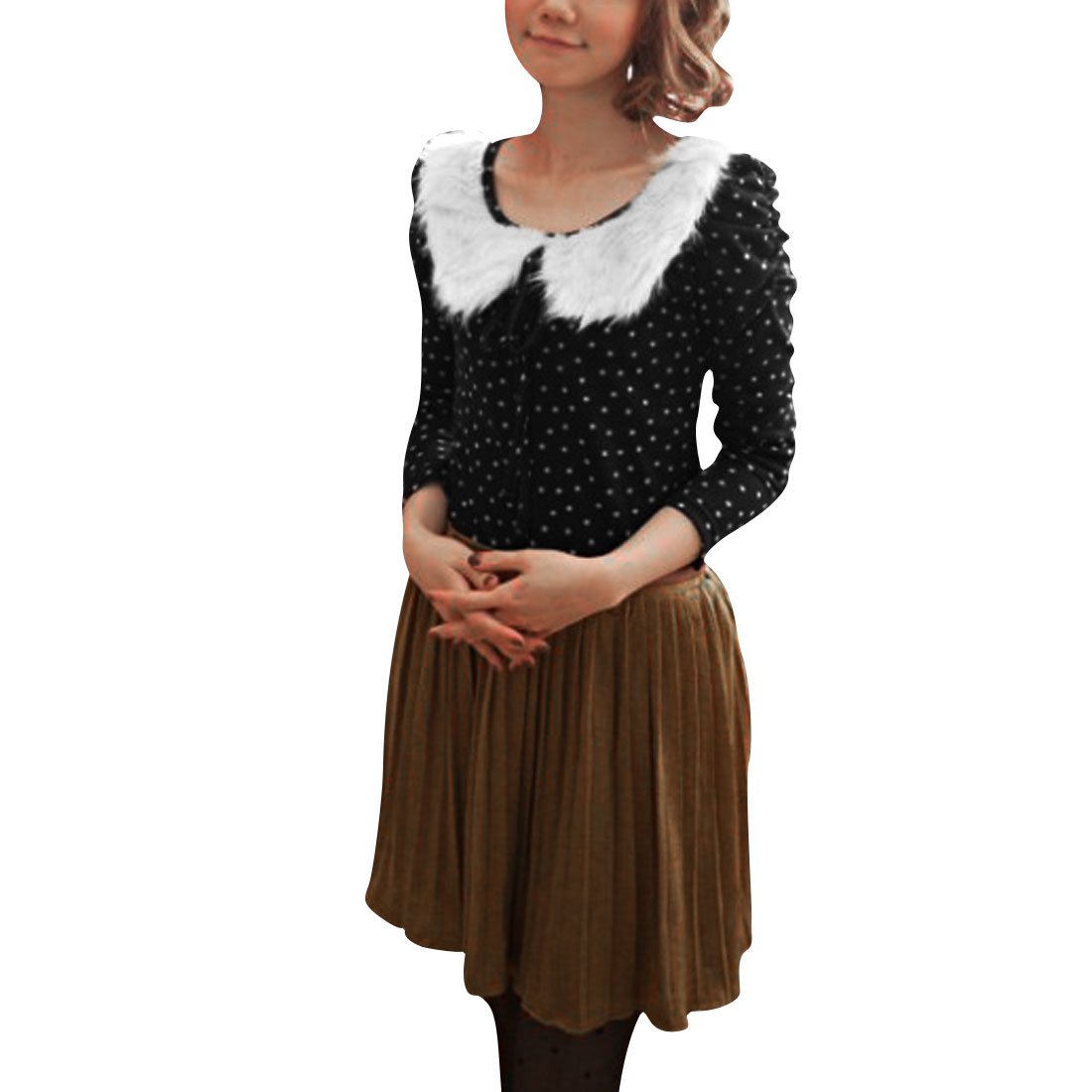 Ladies Black Doll Collar Long Bubble Sleeve Leisure Pullover Spring Blouse XS