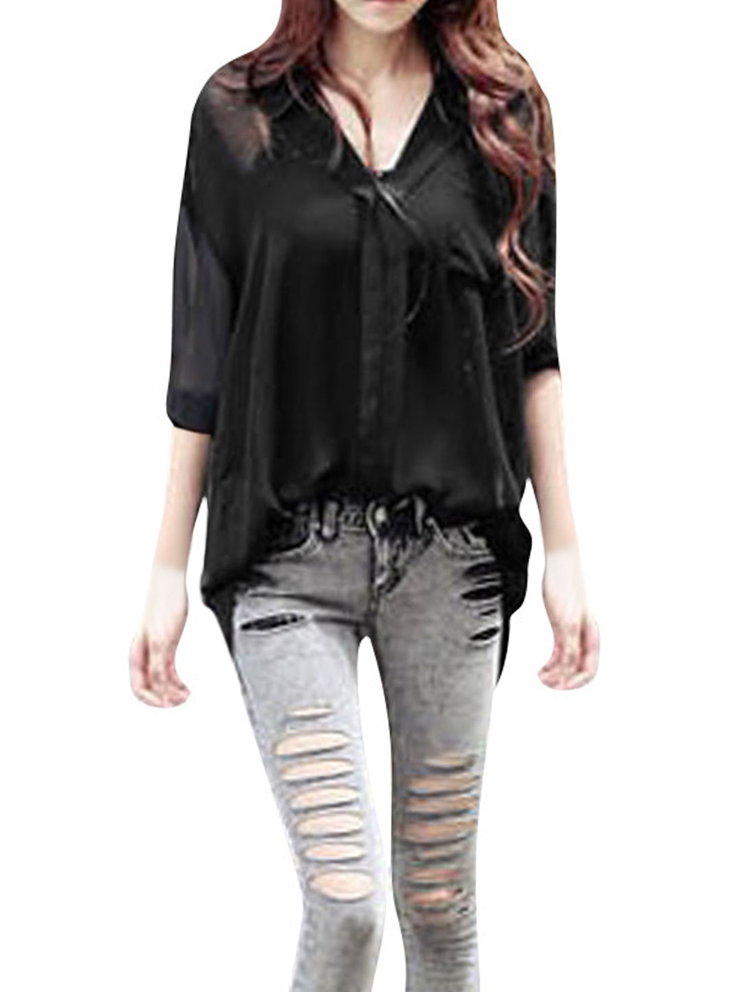 Ladies Black Long Sleeves Semi Sheer Front Pocket Loose Blouse XS