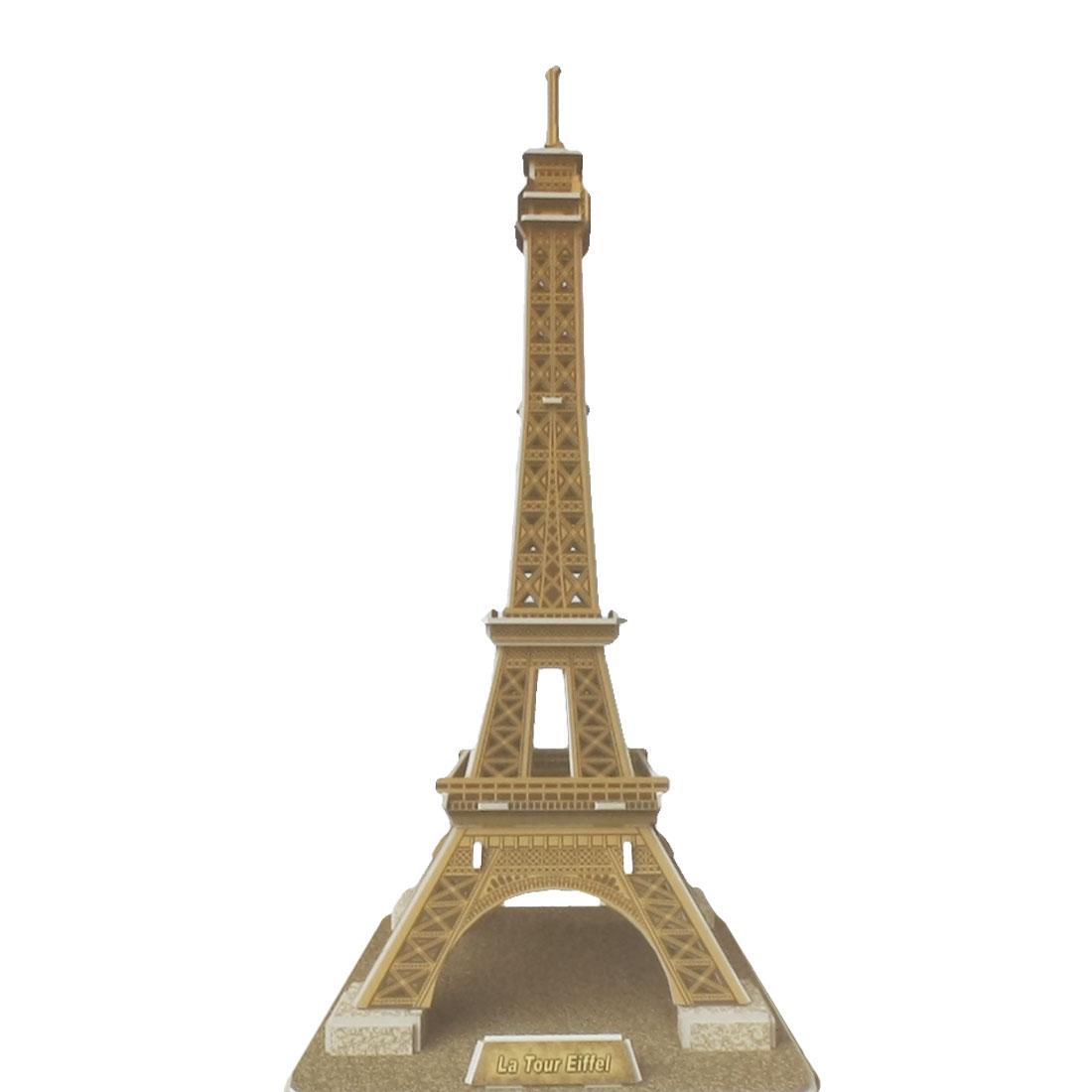 Coffee Color Paper Covered Foam 3D Eiffel Tower Puzzle Desk Decoration