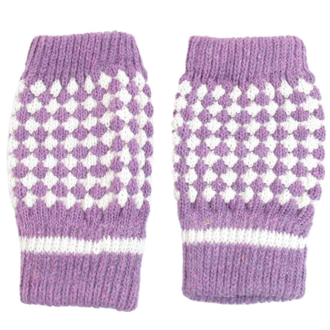 Ladies Purple White Winter Warmer Knitted Fingerless Gloves Mittens