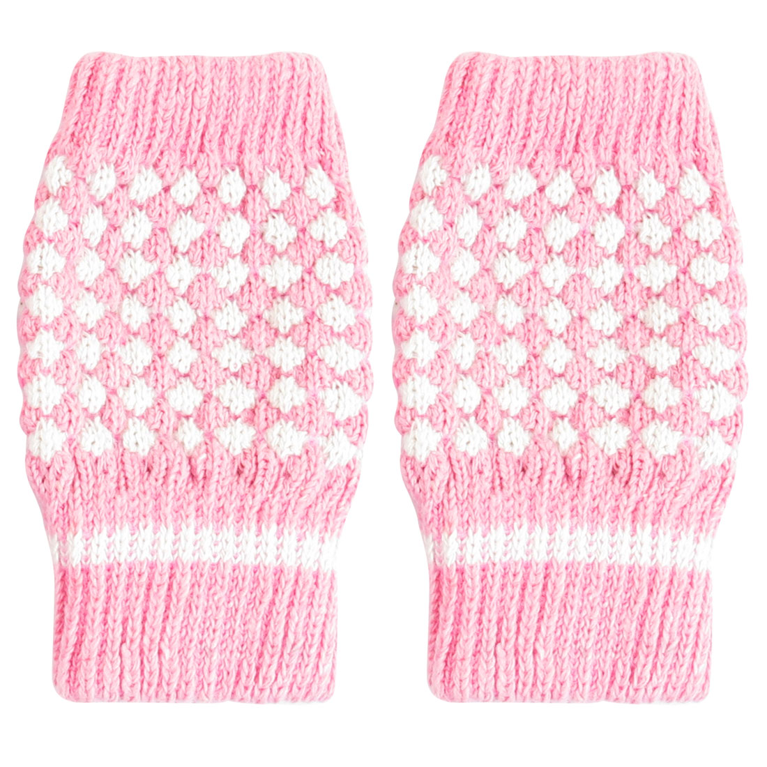Ladies Pink White Winter Warmer Knitted Fingerless Gloves Mittens
