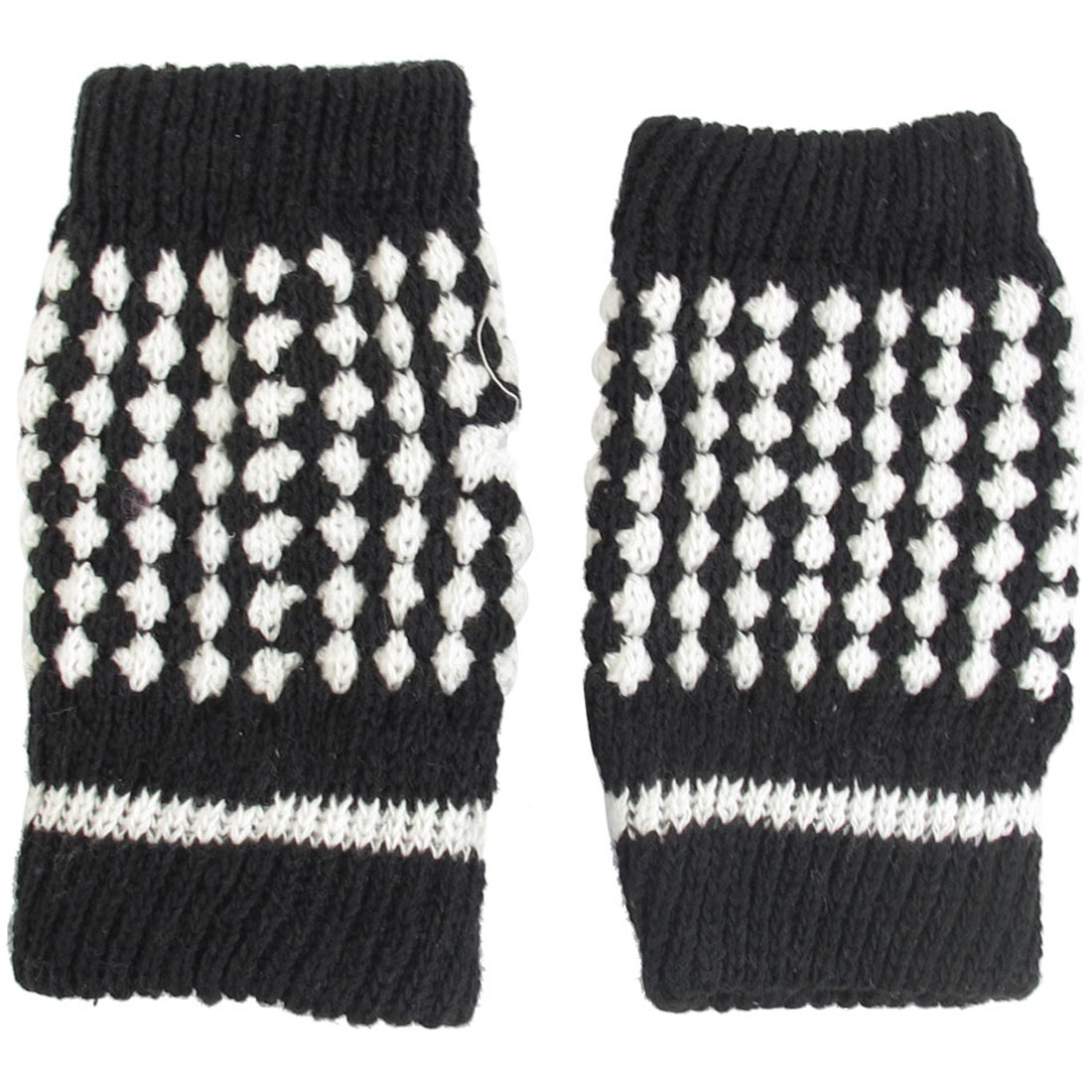 Ladies Black White Winter Warmer Knitted Fingerless Gloves Mittens