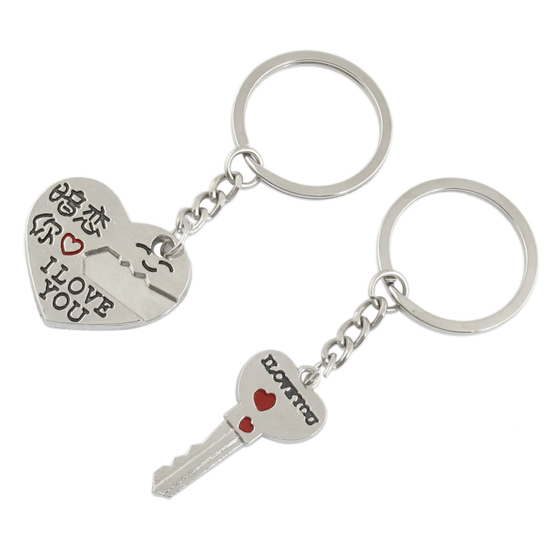 2 Pcs Lover Lock Key Heart Dangling Pendant Keyring Keychain Key Holder