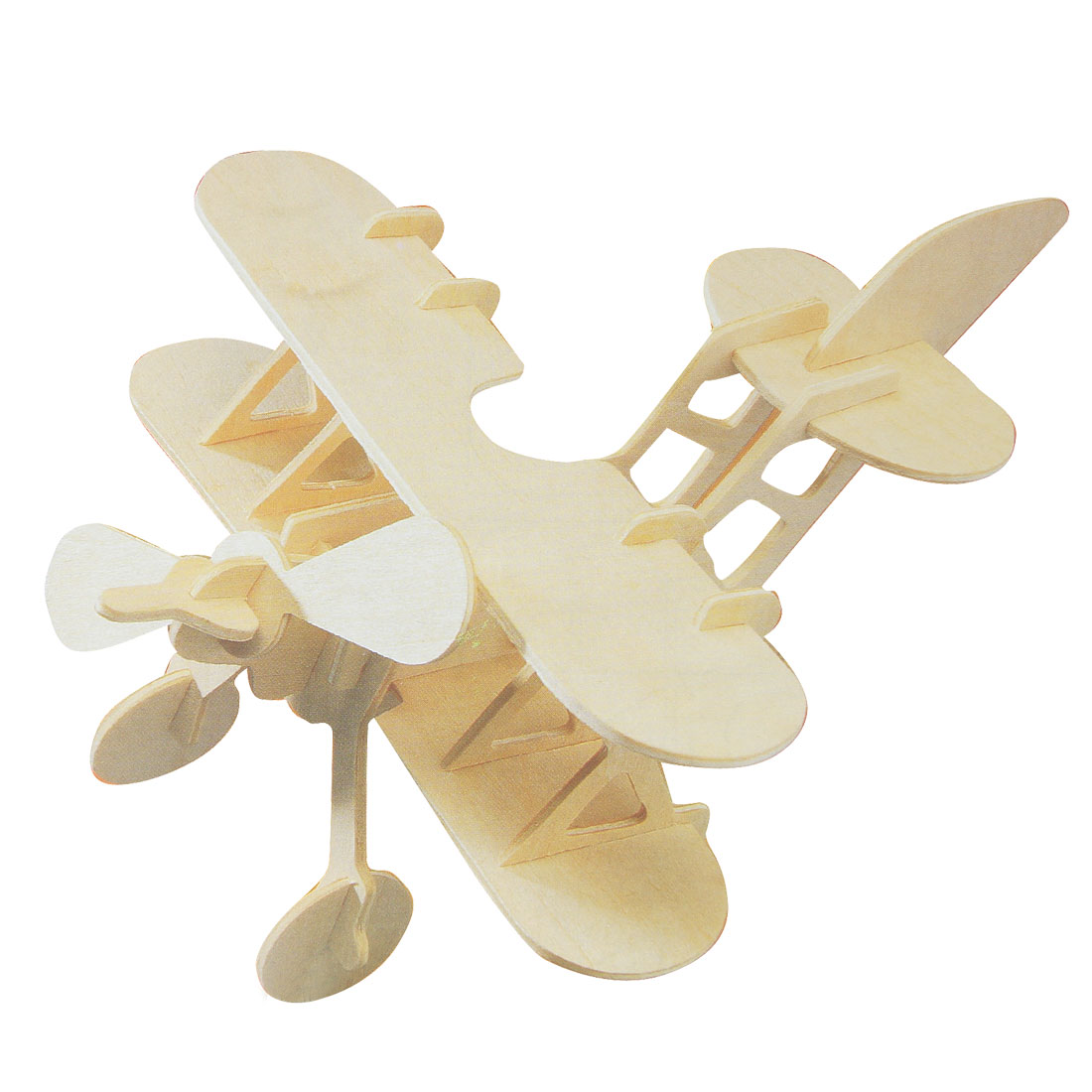 Children Wood Craft DIY 3D Bi-plane Model Construction Kit Puzzle Toy