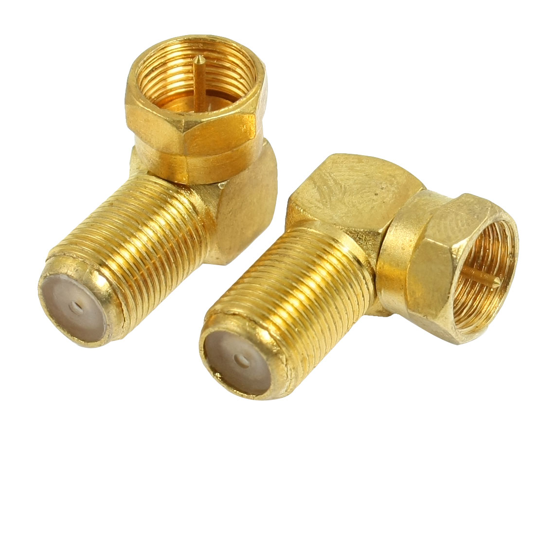 2 x Right Angle F Type Male to Female Jack RF Coaxial Connector