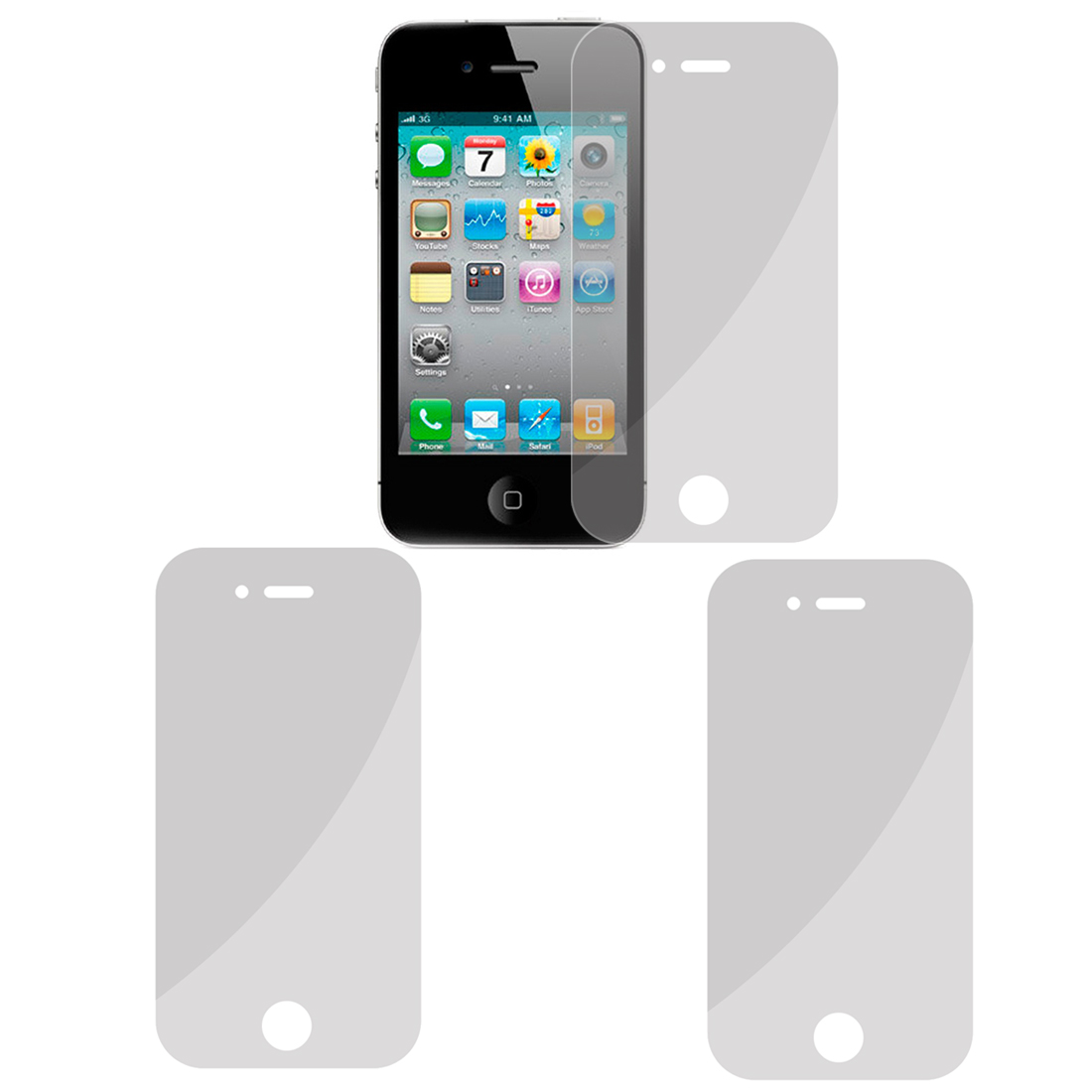 2 Pcs Clear LCD Screen Guard Film Protector for iPhone 4 4G 4S