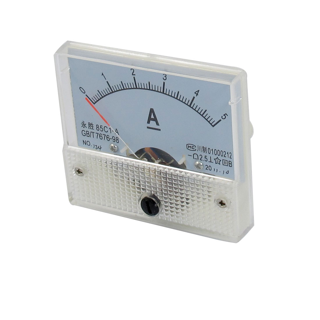 0-5A Scale Range DC Current Test Amperemeter Panel Meter w Screw Nuts