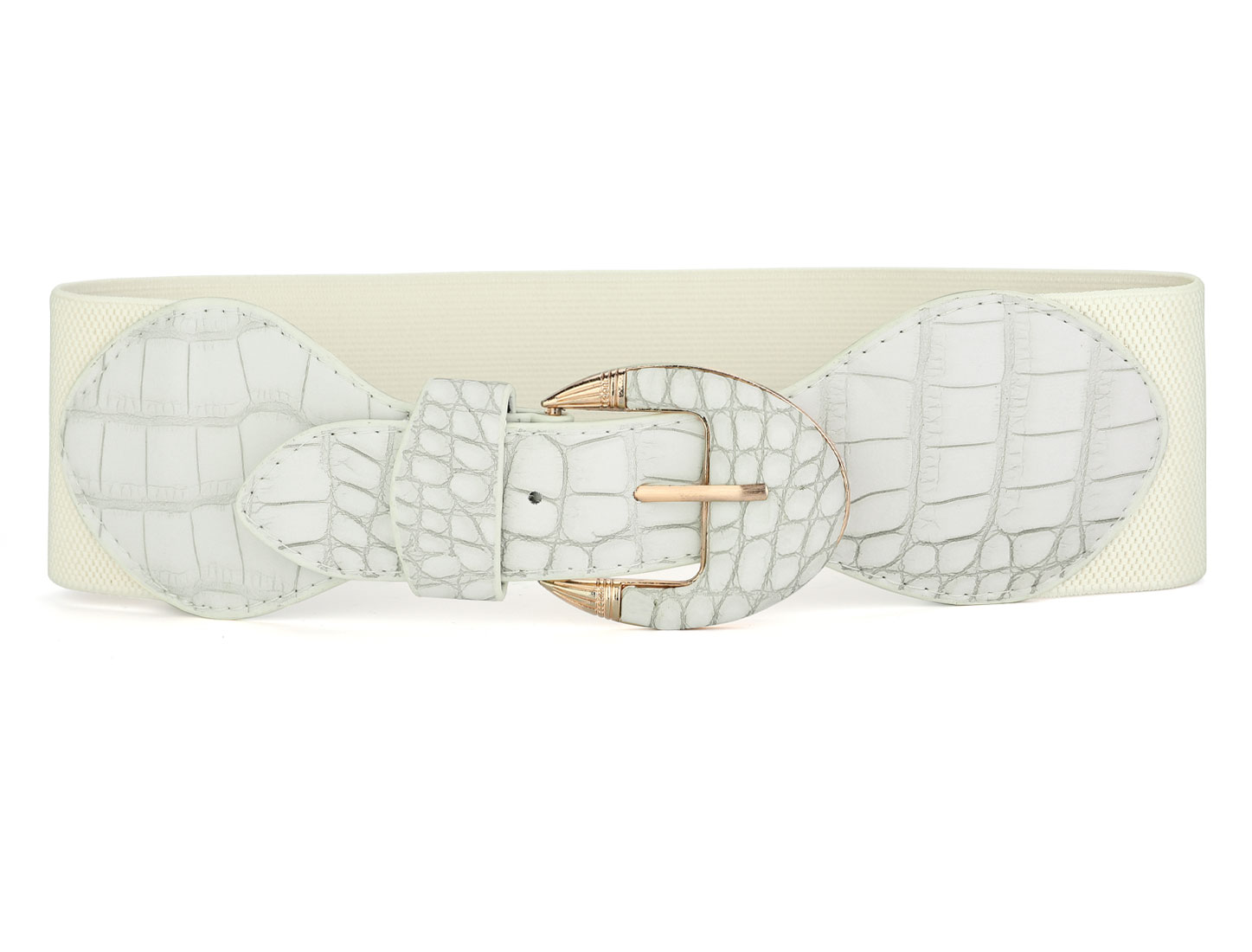 Women Single Prong Buckle Crocodile Print Elastic Band Waist Belt White