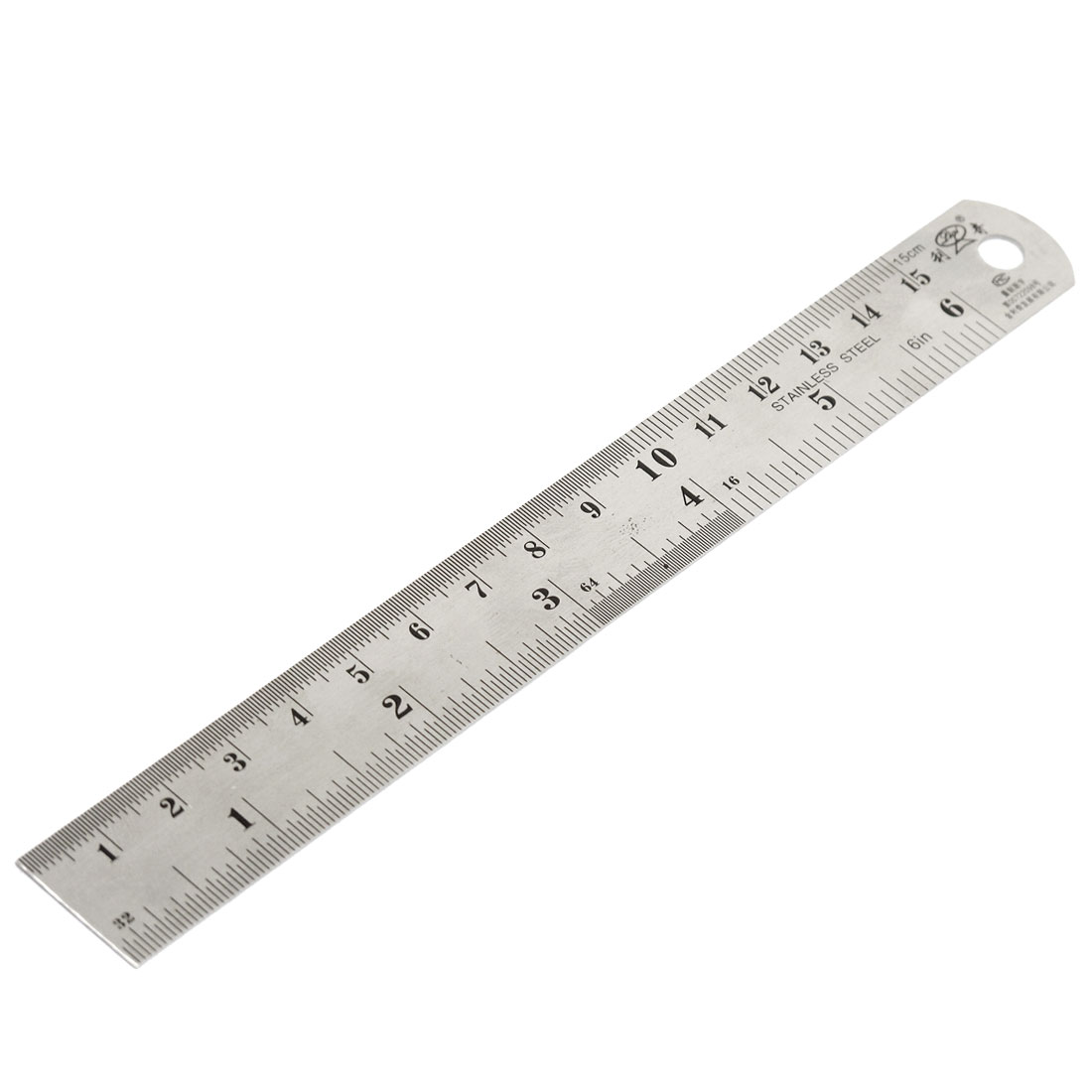 Metric 15cm Stainless Steel Imperial Straight Ruler Measuring Tool 6 Inch