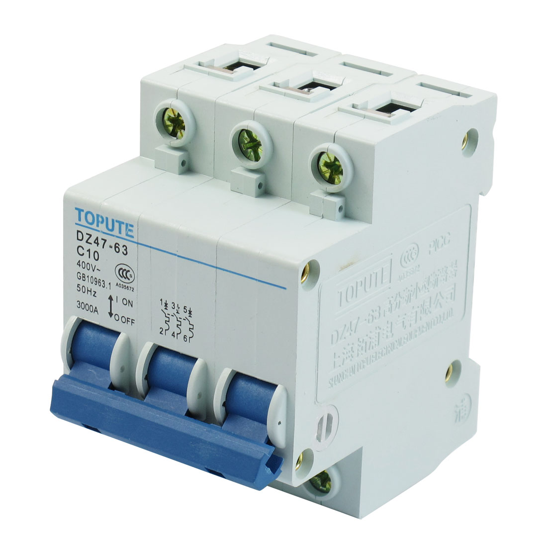 AC 400V Rated Current 10A Three Pole Miniature Circuit Breaker
