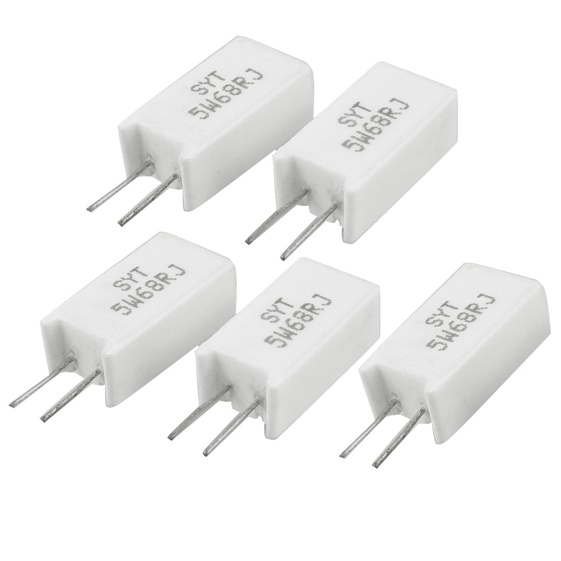 5 x 5W 68 Ohm Radial Lead Ceramic Cement Power Resistors
