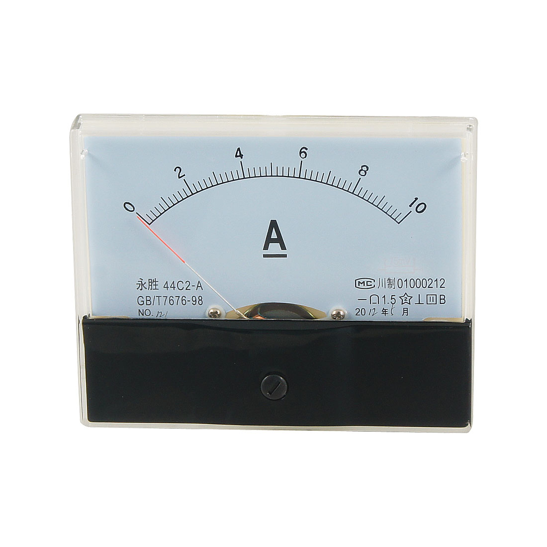 44C2 DC 0-10A Rectangle Analog Panel Ammeter Gauge