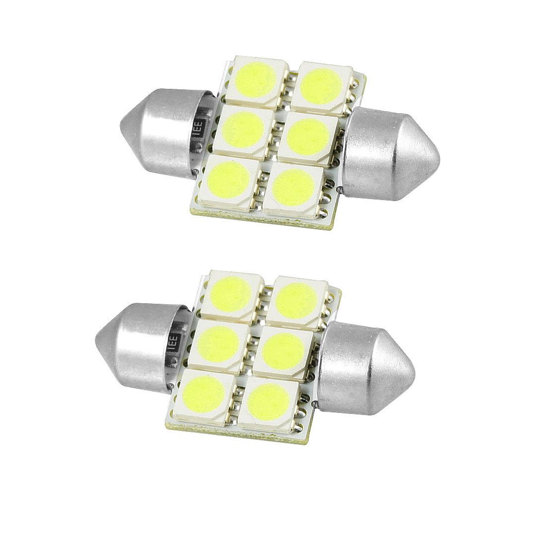 Car Auto Vehicle 34mm White 5050 6 SMD Interior Festoon LED Light 2 Pcs