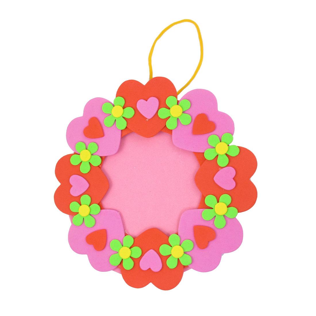 Heart Shape Pattern Round Foam Handicrafts Photo Frame Red Pink