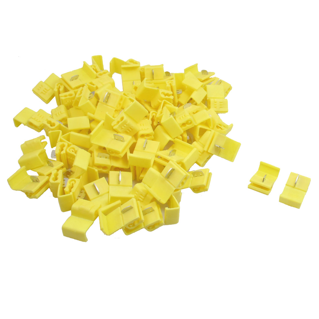 100 Pcs Yellow 12-10 AWG Cable Wire Clamp Clip for Car Vehicle