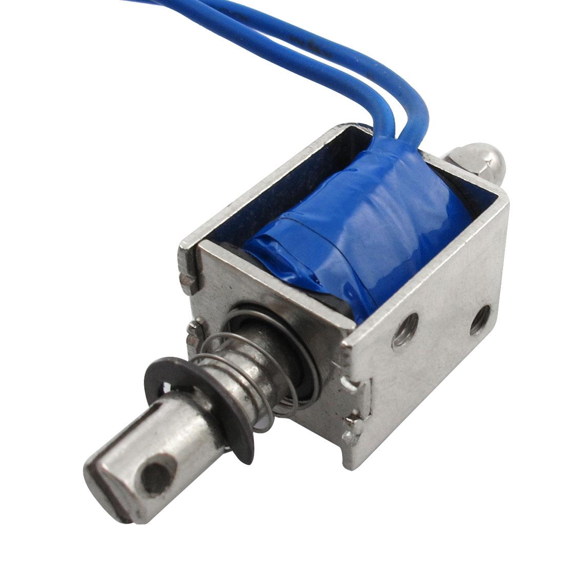 DC 12V 500mA Open Frame Push Type Solenoid Electromagnet 7mm Stroke