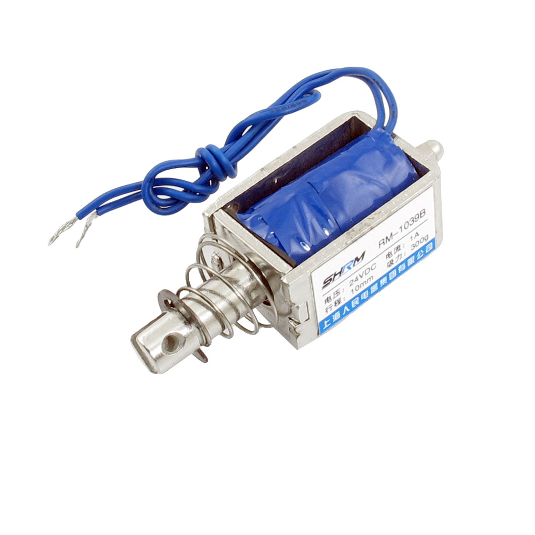 DC 24V 1A 0.3Kg Force 10mm Stroke Push Type Solenoid Electromagnet