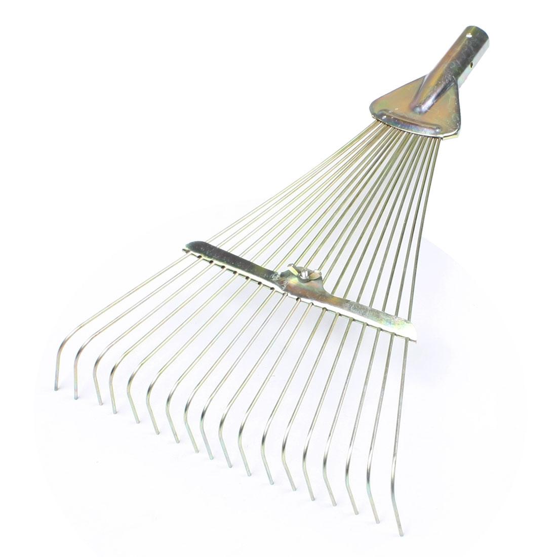 Gold Tone 18 Tine Cultivator Rake Gardening Tool Trowel Fork Head
