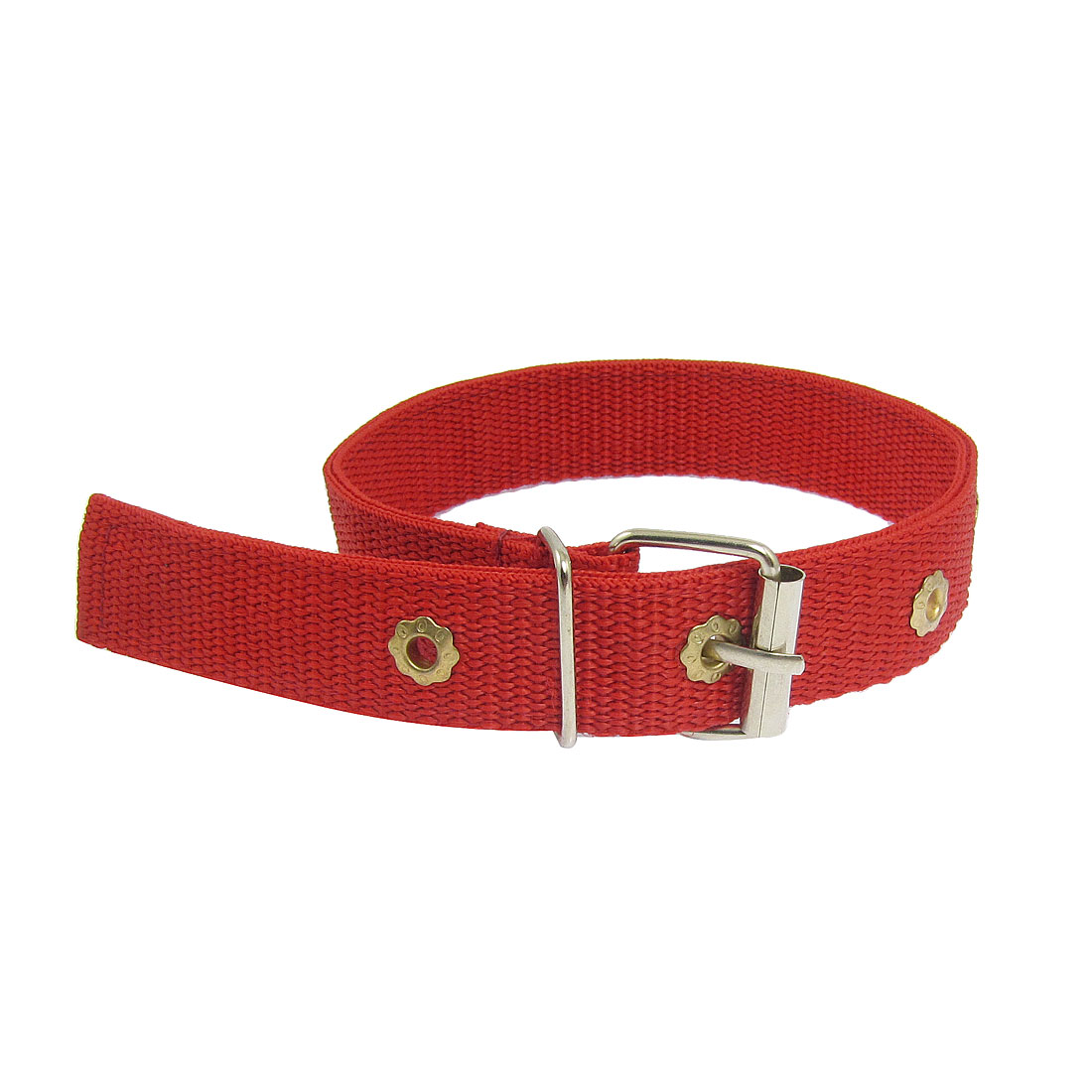 "Metal Buckle Guardian Red Nylon Pet Dog Adjustable Collar 18.9"" Length"