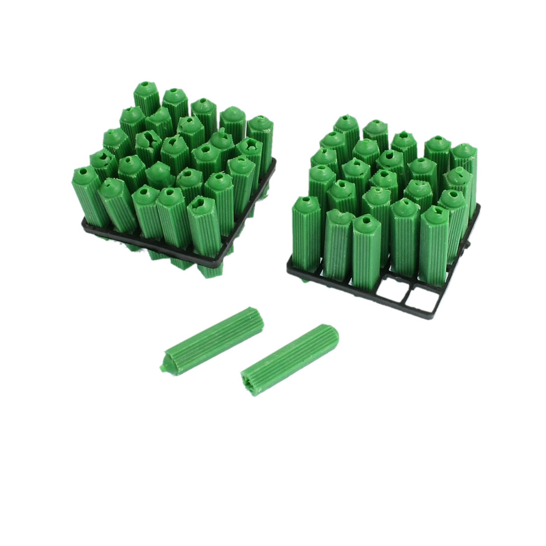 50 Pcs 6mm Green Plastic Screw Fixing Wall Plug for Masonry