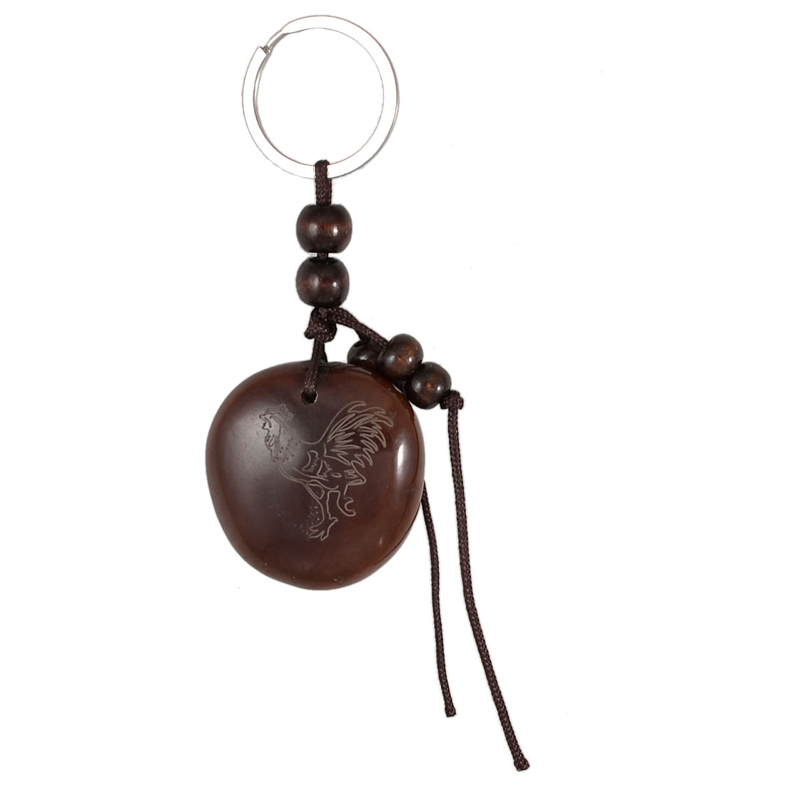 Brown Beaded Rooster Characters Engraved Peace Bean Dangling Key Chain