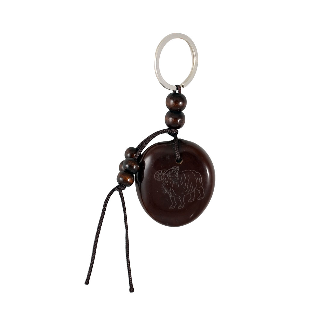 Brown Plastic Monkey Characters Carved Peace Bean Beaded Hanging Keyring