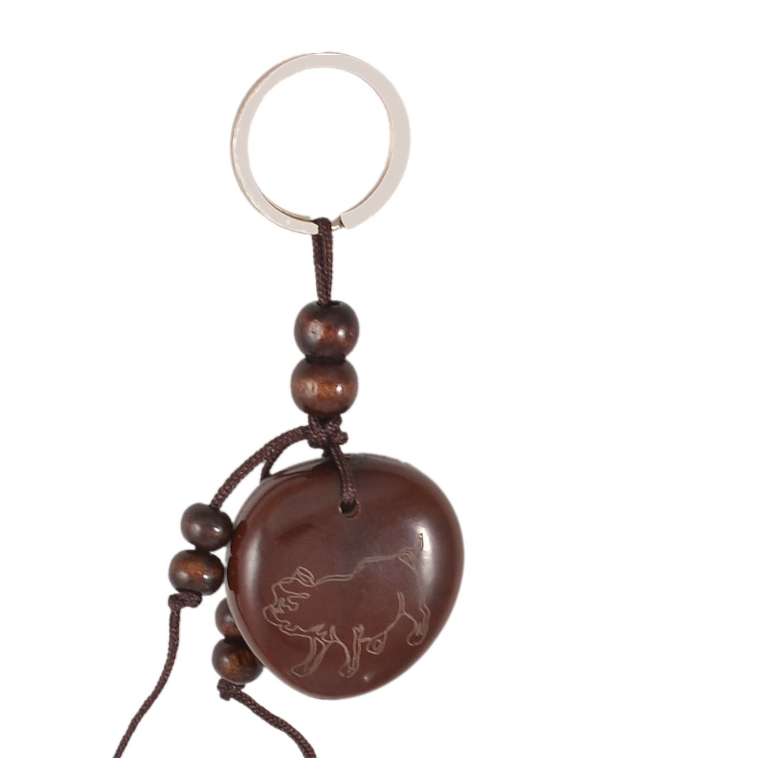 Brown Wood Bead Decor Pig Characters Engraved Blessed Bean Pendant Keyring