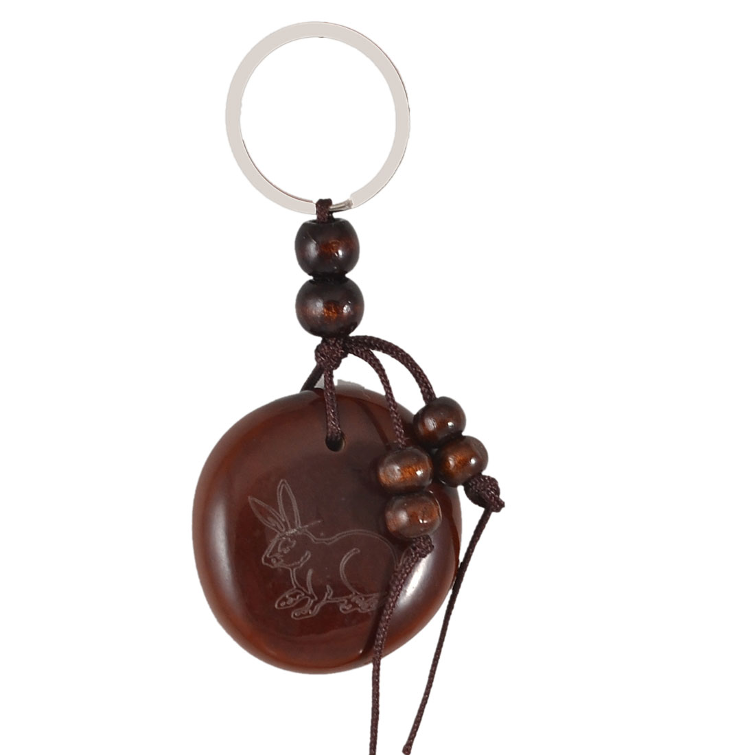 Brown Wooden Bead Decorated Rabbit Characters Engraved Bean Dangling Keyring