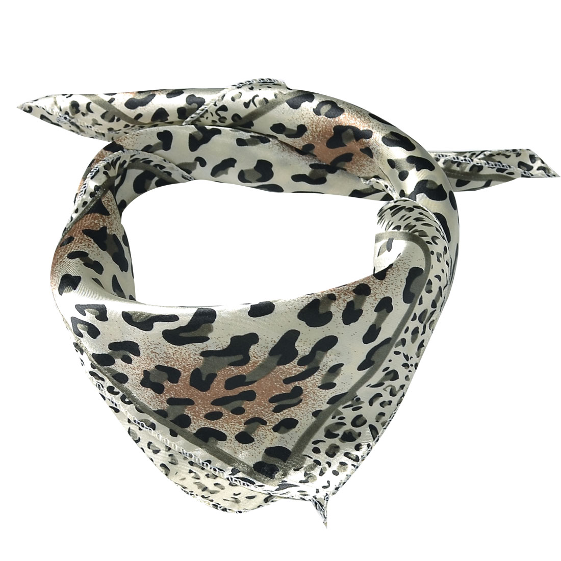 Ladies Black Gray Leopard Pattern Beige Polyester Neckerchief