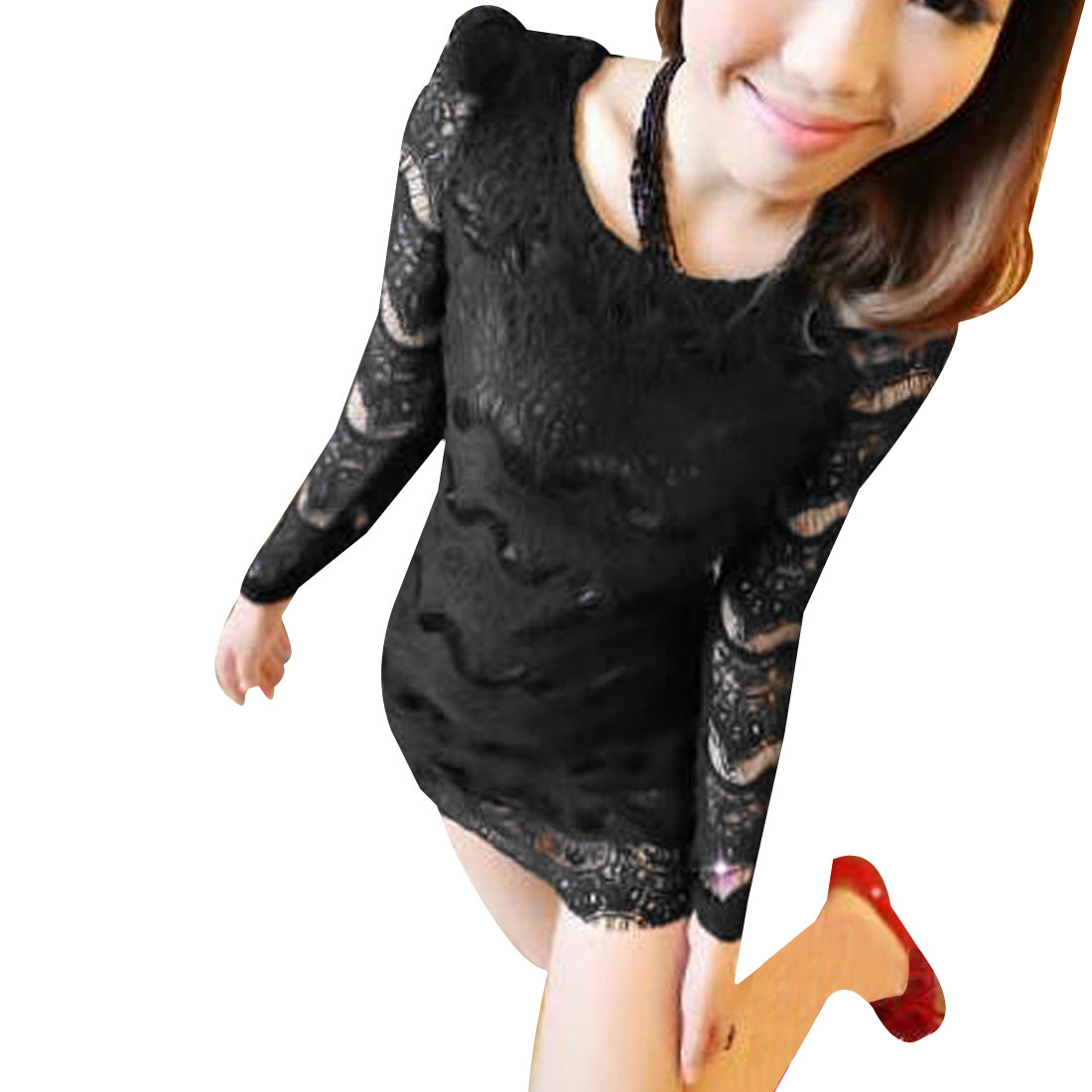 Lady Black Long Sleeve Pullover Scoop Neck Semi Sheer Lace Mini Dress XS