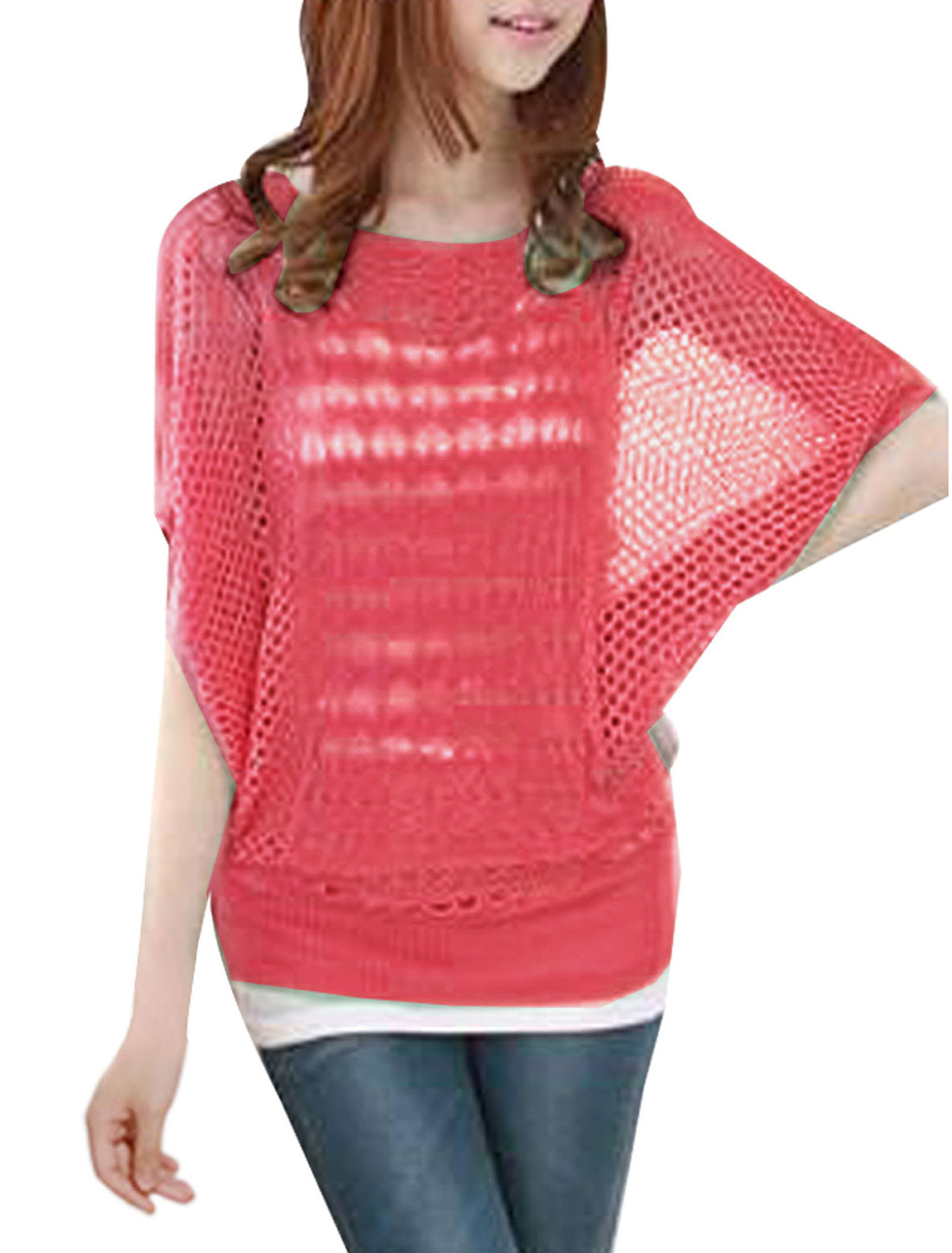 Batwing Sleeve Diamond Knit Hollow Out Design Women Watermelon Red Smock S