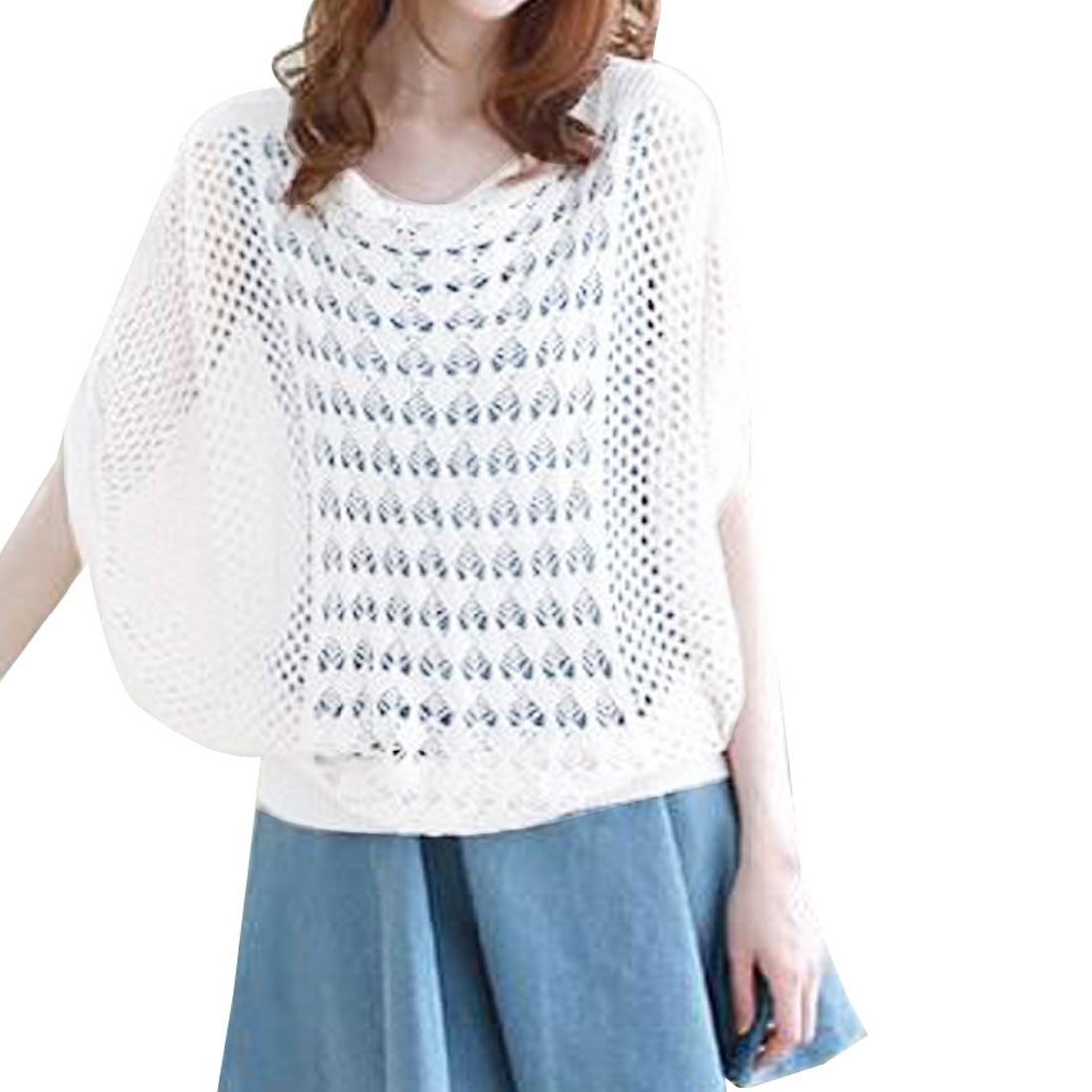 Scalloped Neck Dolman Sleeve Hollow Out Details Women White Knit Jumper S