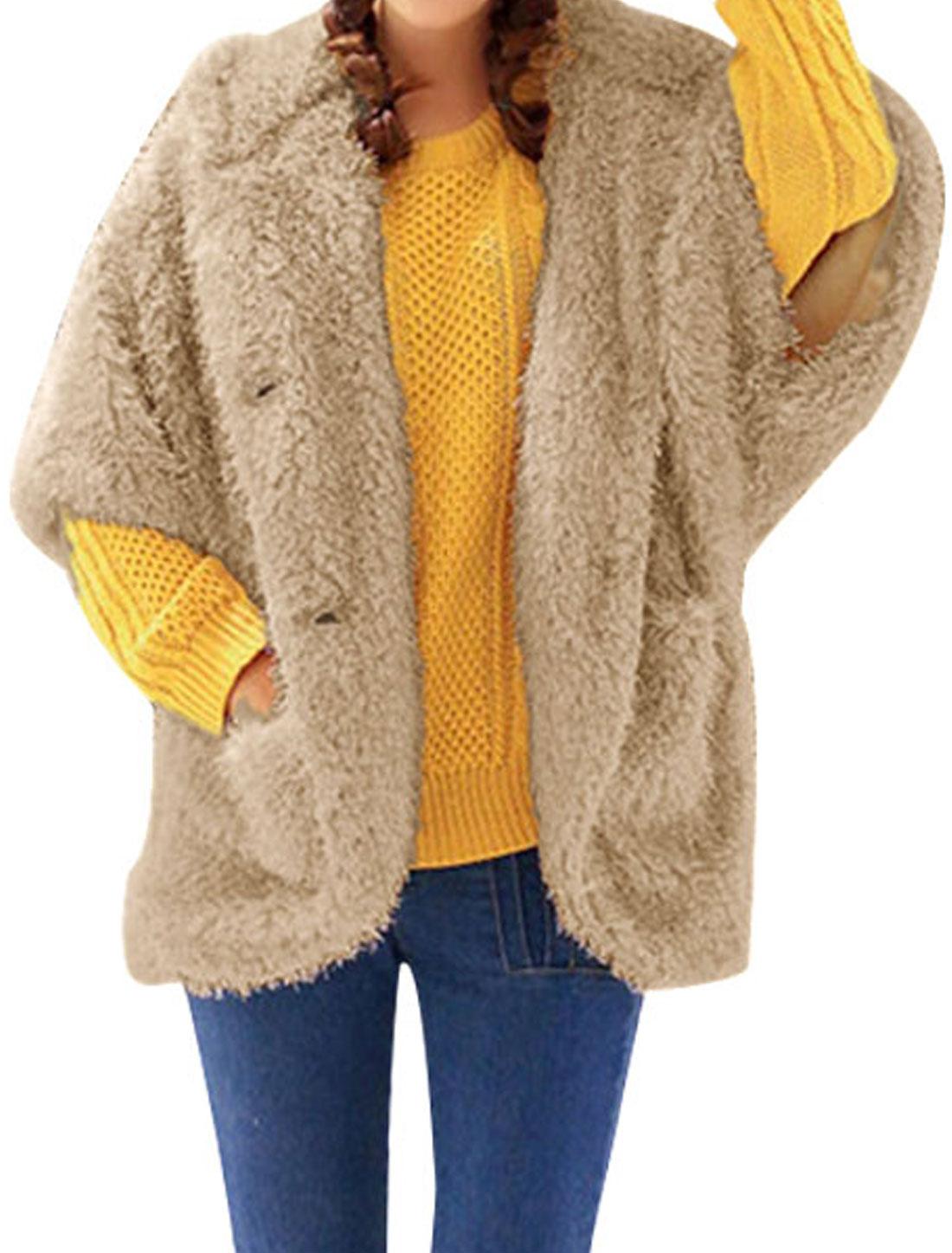 Women Coffee Color Dolman Sleeve Bear Ear Hood High Low Hem Plush Outwear S