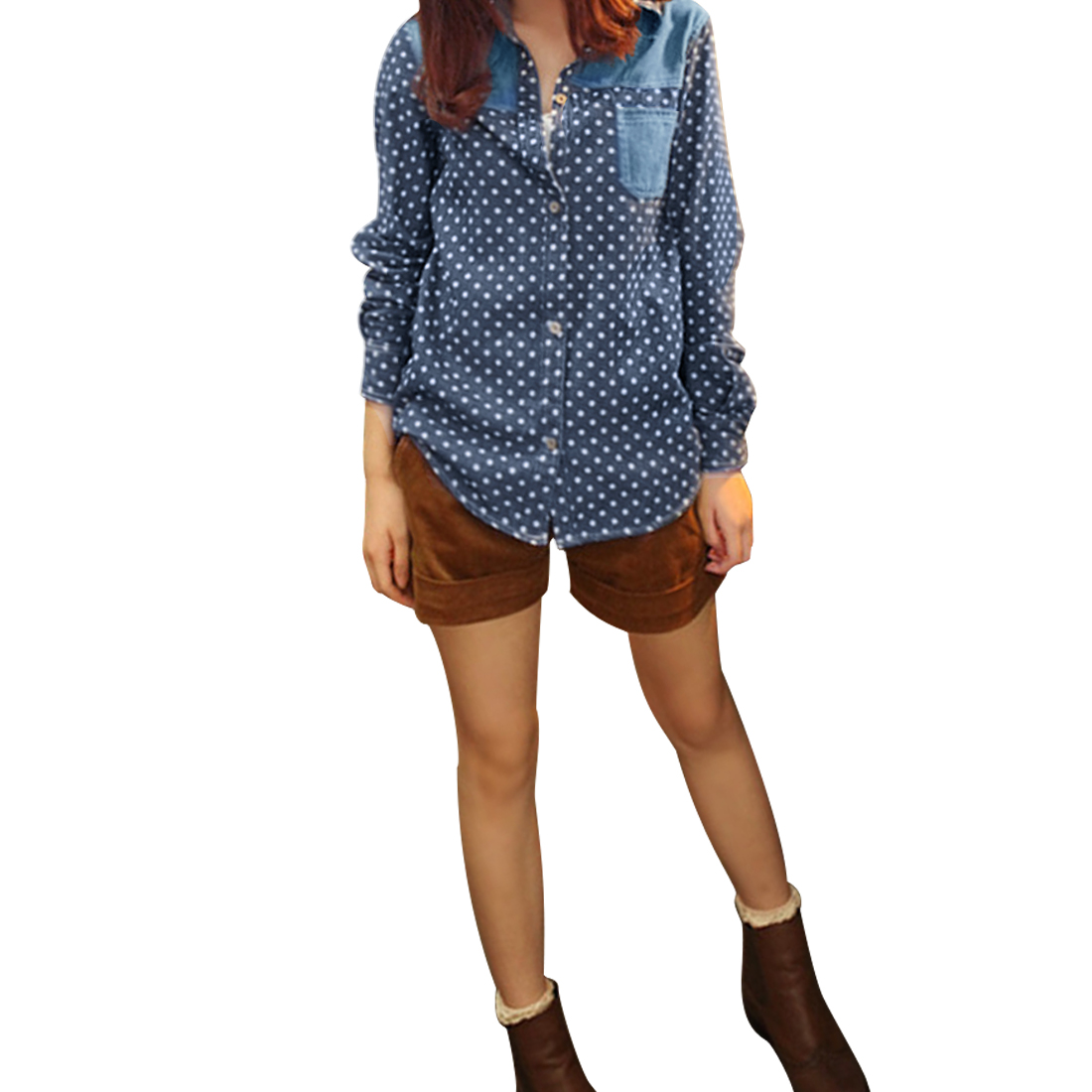 Ladies Dark Blue Wihte Dots Pattern Button Down Denim Shirt XS