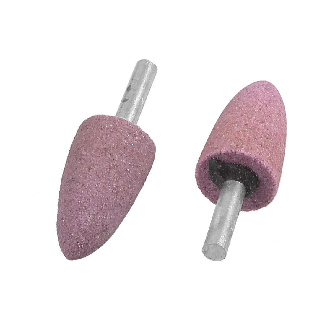 2 Pcs 20mm Diameter Conical Mounted Grinding Stones Pink