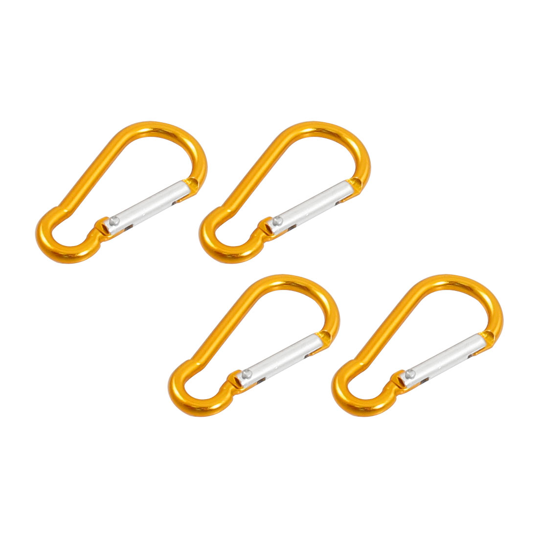 4 Pcs Yellow Aluminum Alloy Gourd Shape Outdoor Carabiner Hook Keychain 5cm