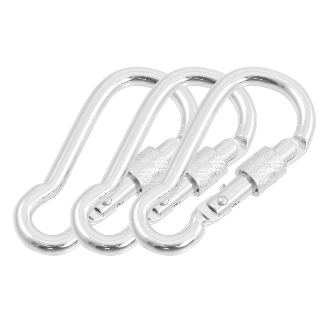 3 Pcs 7cm Silver Tone Aluminum Alloy Gourd Shape Lockable Carabiner Hook Keychain