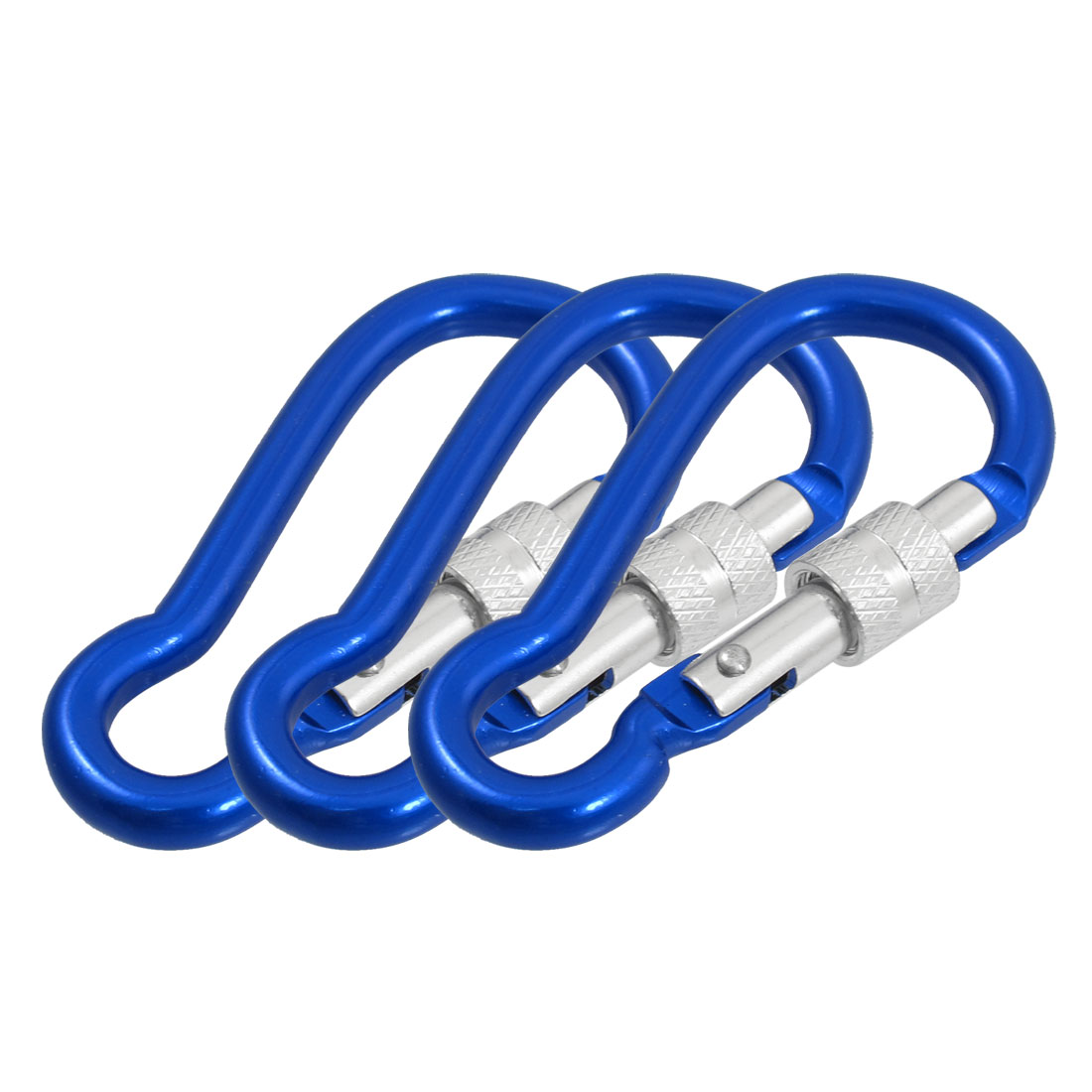 3 Pcs Blue Aluminum Alloy Gourd Shaped Locking Outdoor Carabiner Hook Keychain 7cm