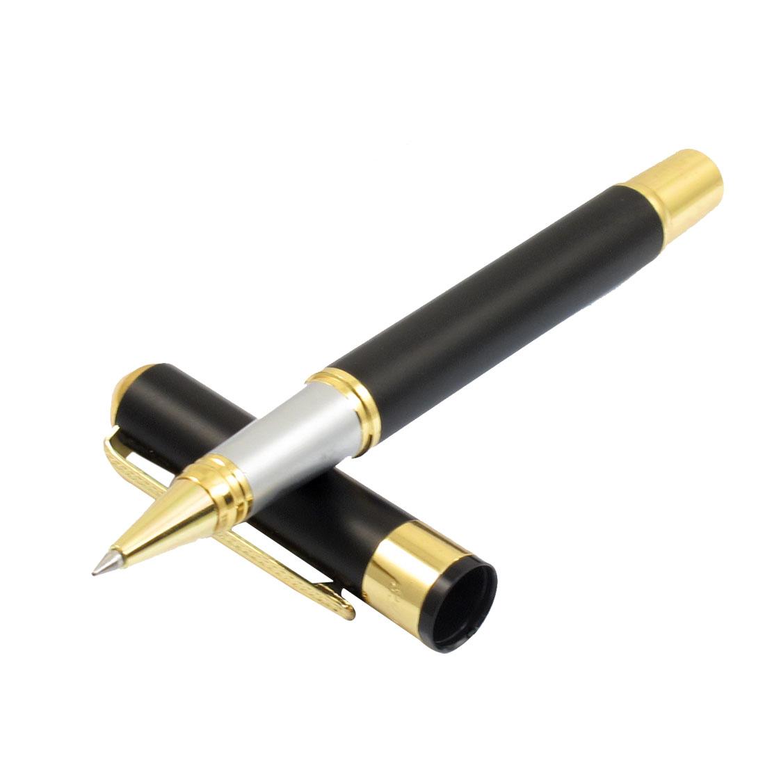 Student 0.5mm Nib Black Ink Writing Alloy Case Stationery Gel Pen