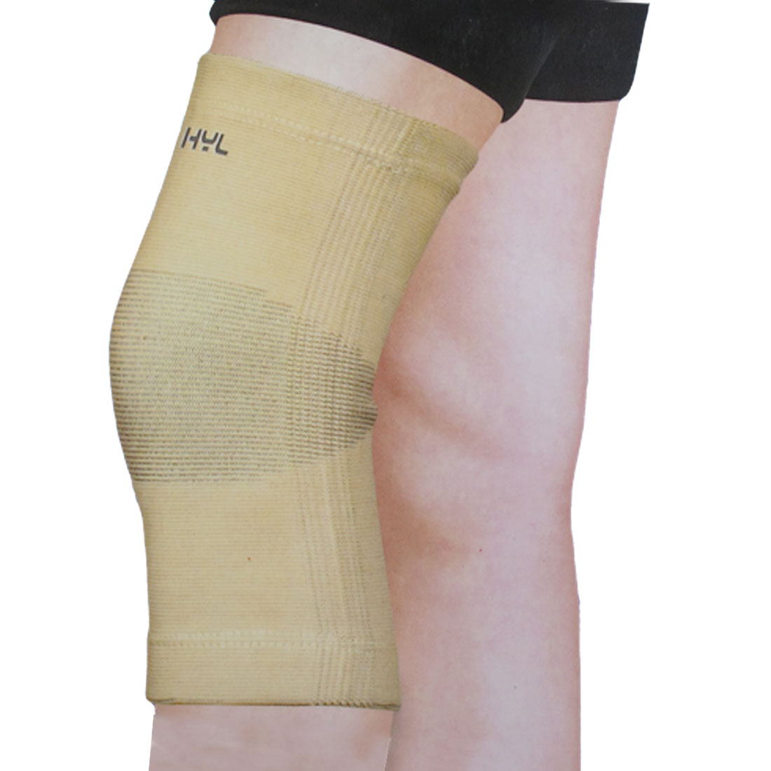 "13.4""-15.7"" Sports Knee Support Elastic Brace Pad Wrap Protector Beige Gray"