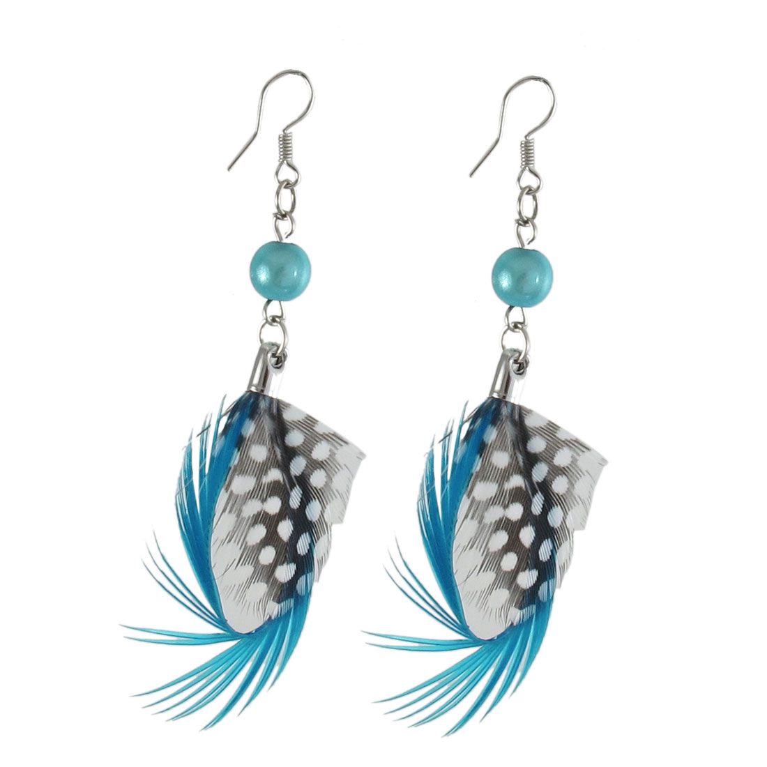 Ladies Cyan Blue Black Leopard Faux Feather Pendant Fish Hook Earrings Pair