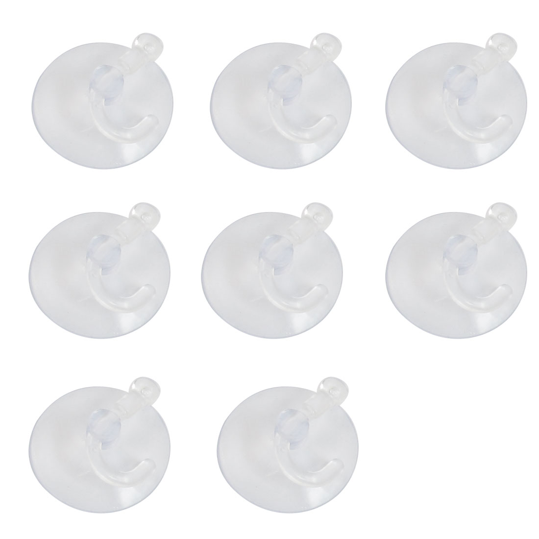 8 Pcs Bathroom Kitchen Clear Plastic Suction Cup Wall Hooks Hangers