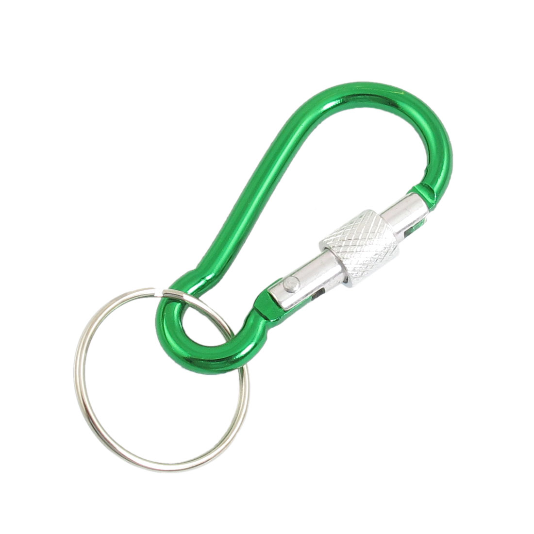 2 x Green Aluminum Alloy 4.3mm Dia Locking Spring Clip Carabiner Keyring Hook