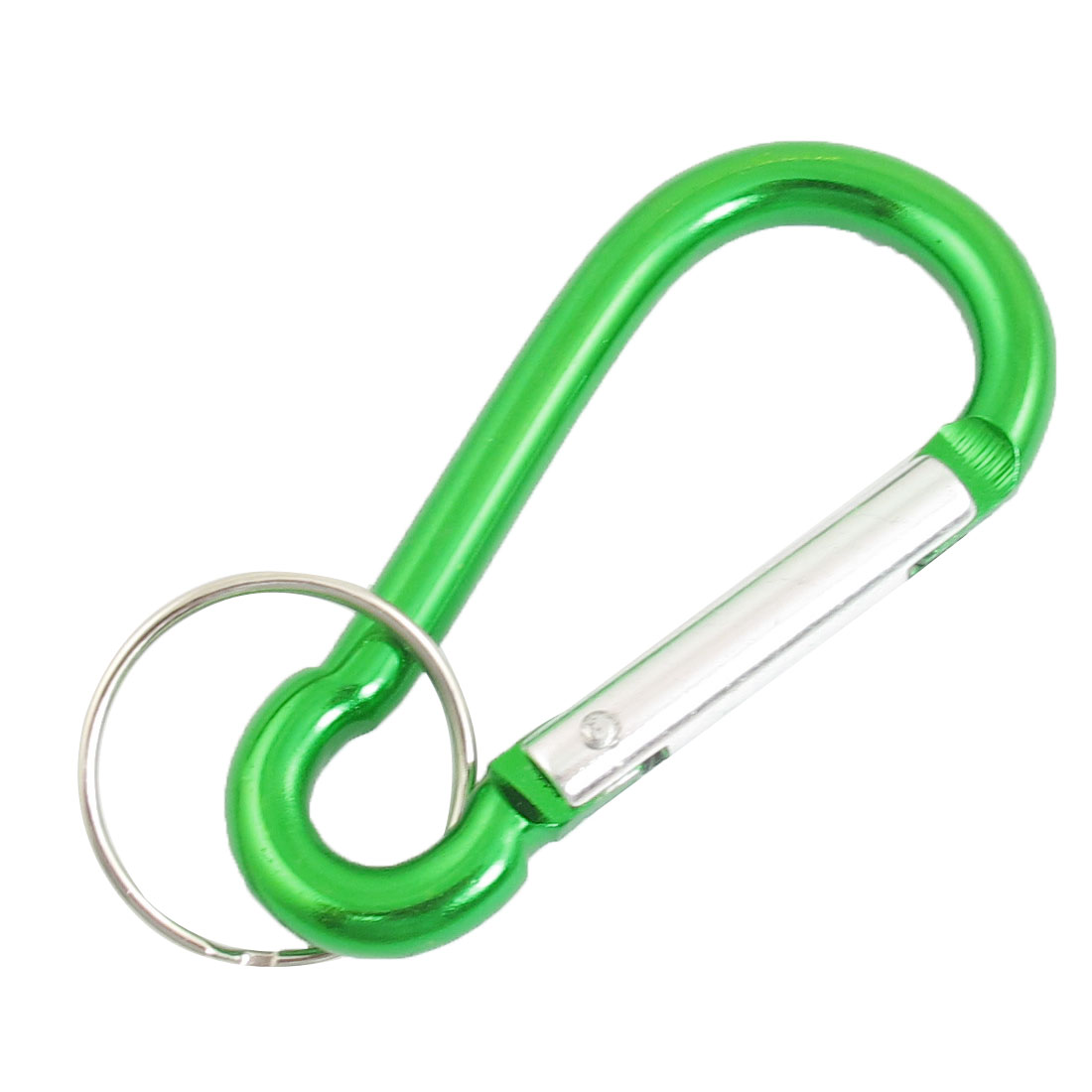 2 Pcs Travel Spring Loaded Gate 6.3mm Dia Green Carabiner Hook w Key Ring