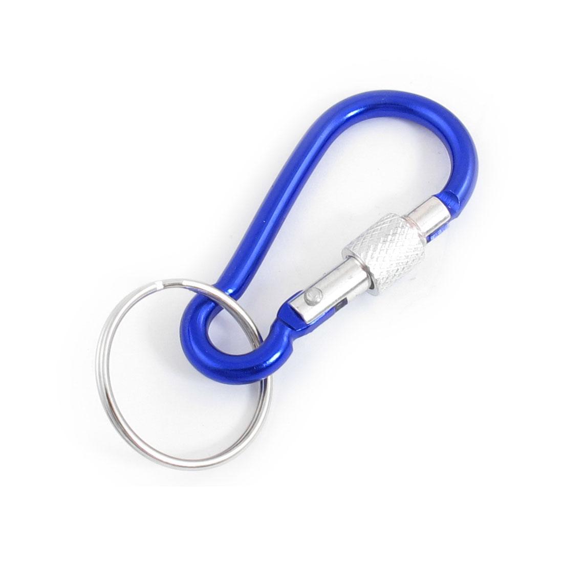 2 x Travel Spring Loaded Screw Lock 4.5mm Dia Dark Blue Carabiner Hook w Key Ring