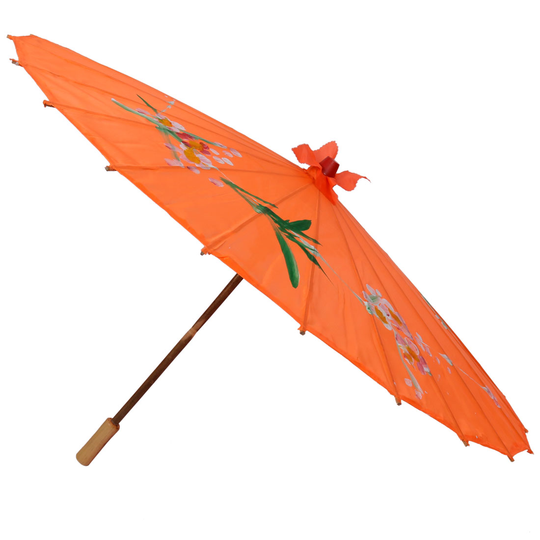 Wooden Grip Orange Nylon Fabric Flower Dancing Parasol Umbrella