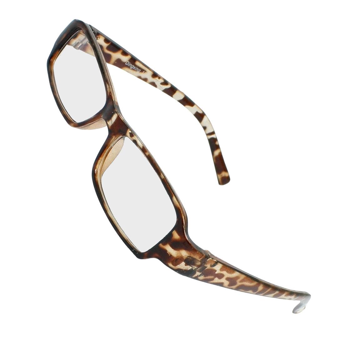 Lady Brown Leopard Pattern Plastic Arms Clear Lens Plain Glasses