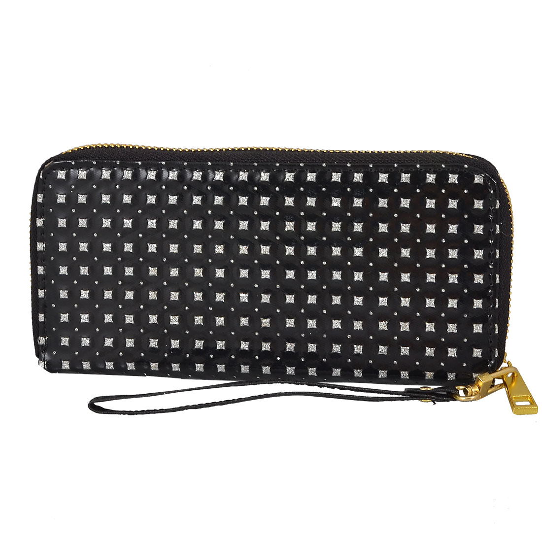 Woman Glittery Black Faux Leather Surface 3-pocket Wallet Purse Cards Holder
