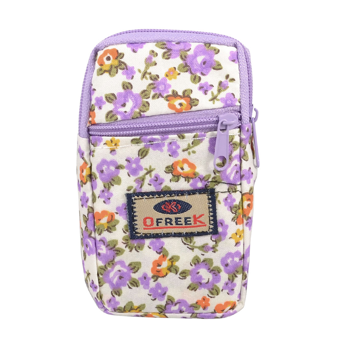 Lavender Floral Print 2 Pockets Zip up Cell Phone Wrist Bag Pouch